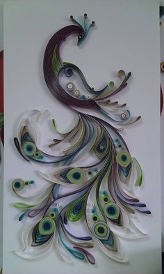Beautiful quilled peacock