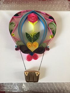 Paper quilled hot air balloon