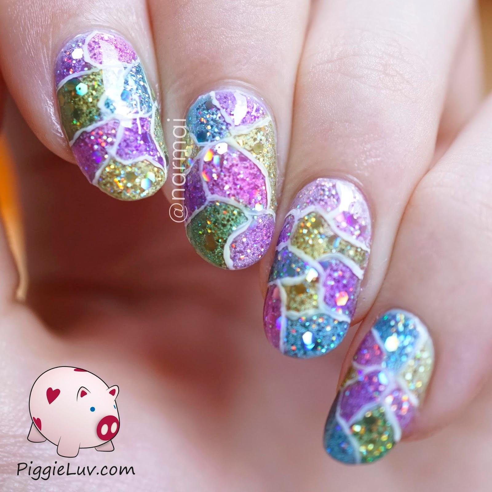 Cracked glitter nail art