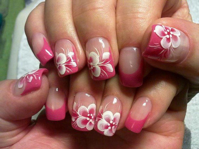 Pink and white flower nail designs