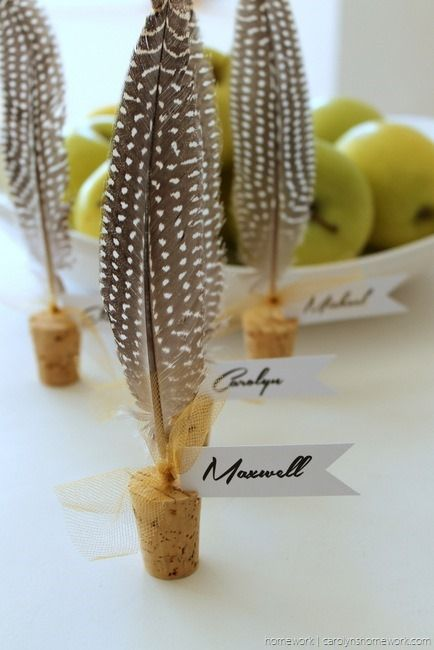 Place tags using feathers