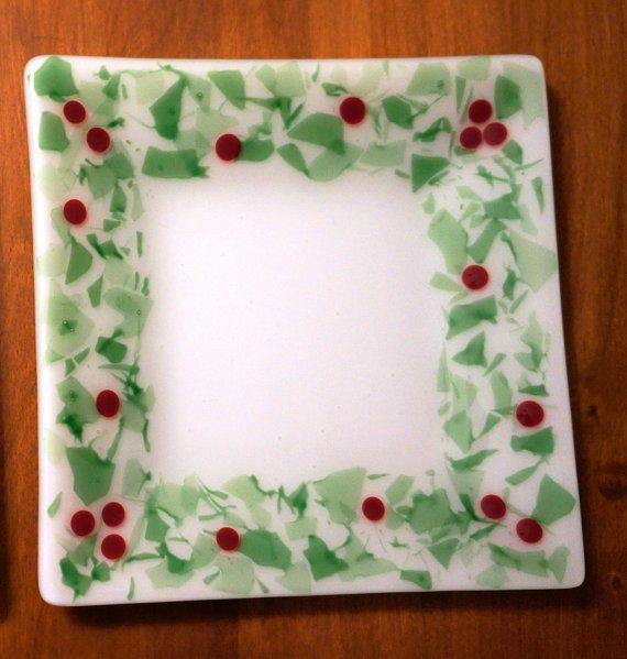 Fused glass holly plate-