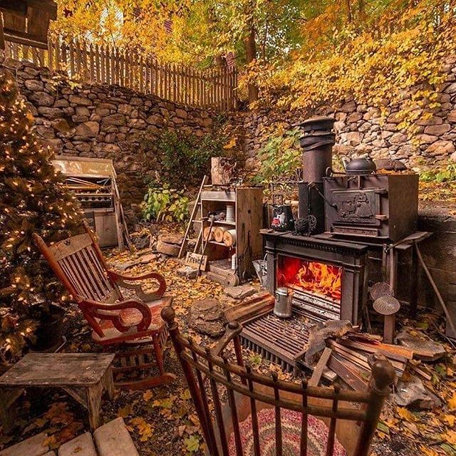 Enjoying fall on the back patio