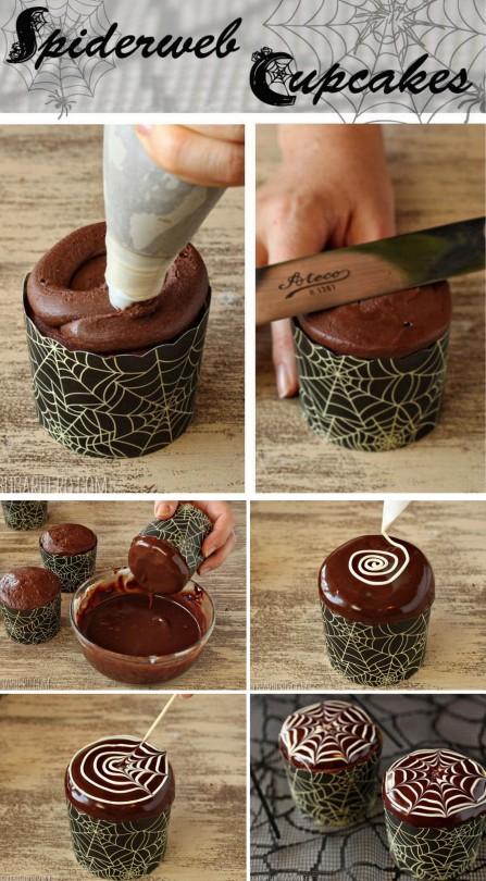 DIY Spiderweb Cupcakes