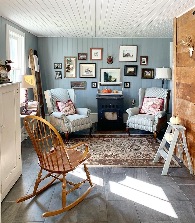 Pale blue sitting room