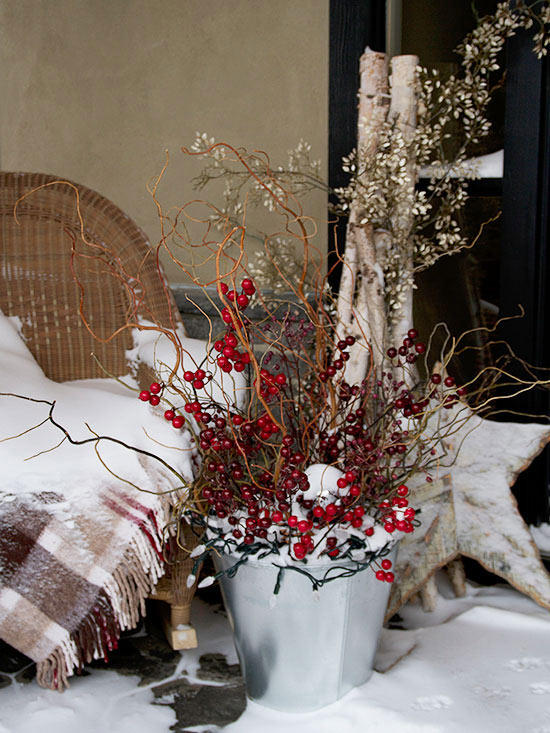Potted Berry and Branch Arrangement