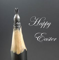 Carves pencil lead easter sculpture