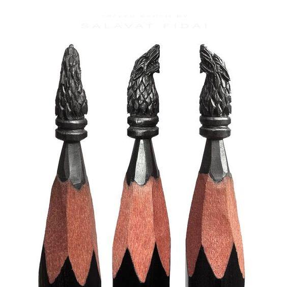 Art pencil hand carved sculptures