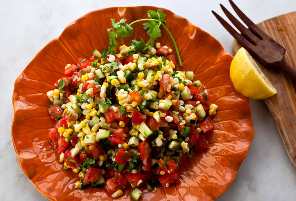 Tomato cucumber and corn salad