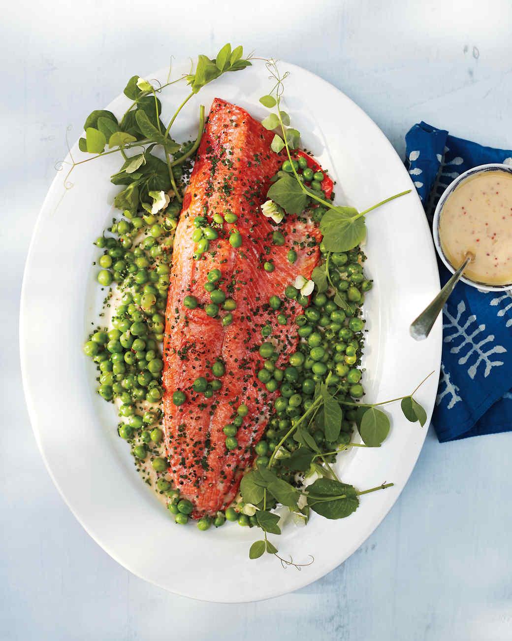 Wild salmon with English peas