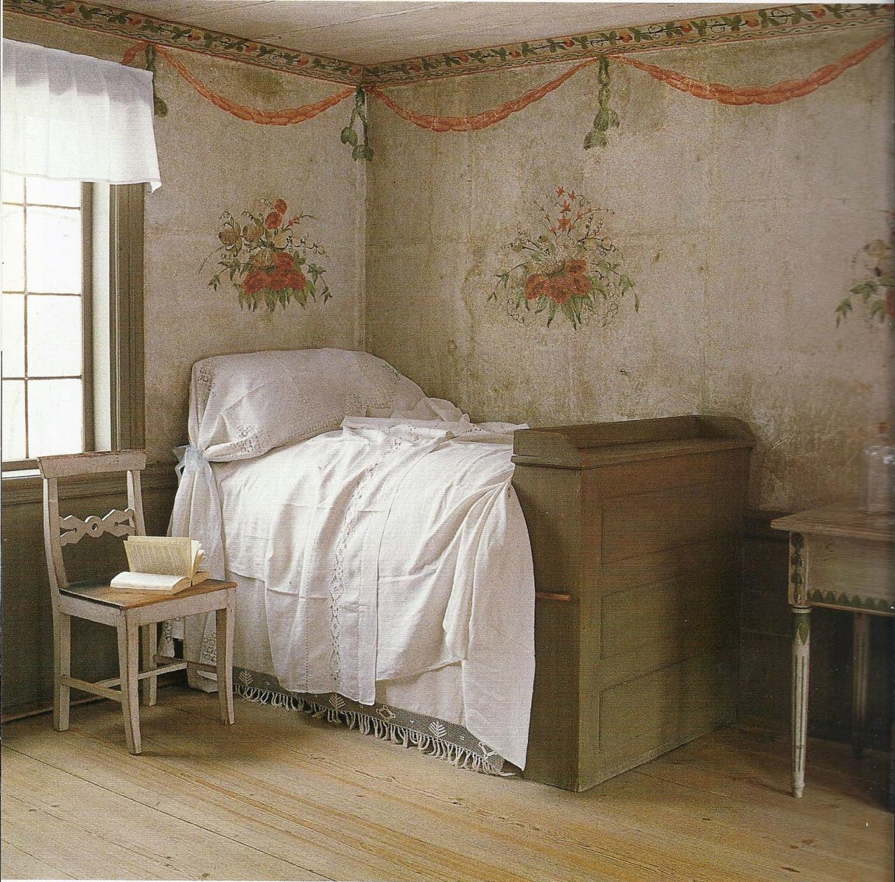 White sheets posies on the walls